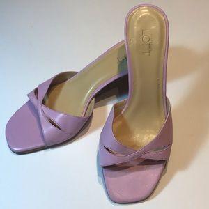 LOFT lilac lavender heeled sandals NWOT